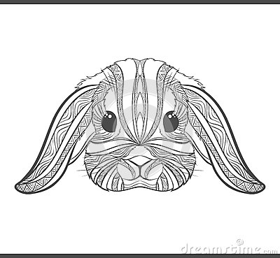 Rabbit Coloring Outlines In Boho Style Ethnic Hare Stock