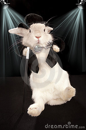 Rabbit dancing in top hat  and tuxedo with stick
