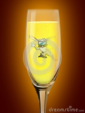 Rabbit diver in the glass of champagne