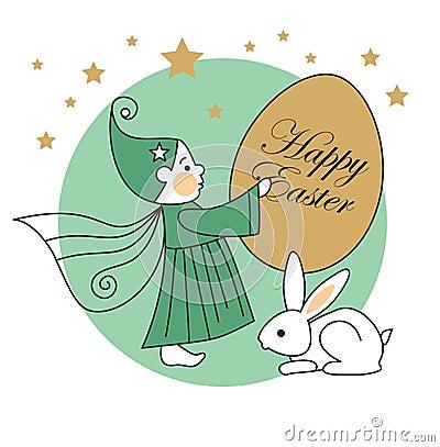 Rabbit, elf, easter egg