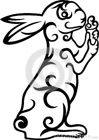 Rabbit floral ornament