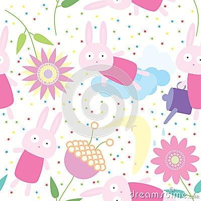 Rabbit Flower Seamless Pattern_eps