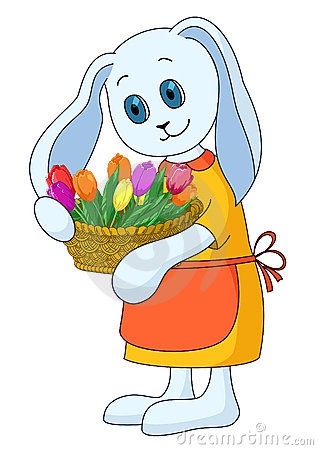 Rabbit girl with flowers