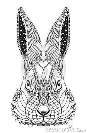 Rabbit Head Zentangle Stylized