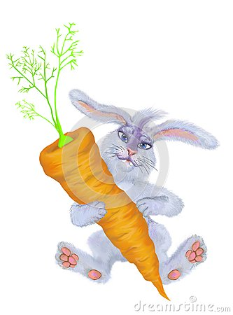 A rabbit holds a carrot