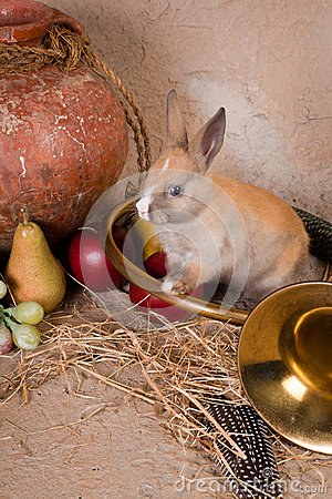 Rabbit and hunting horn