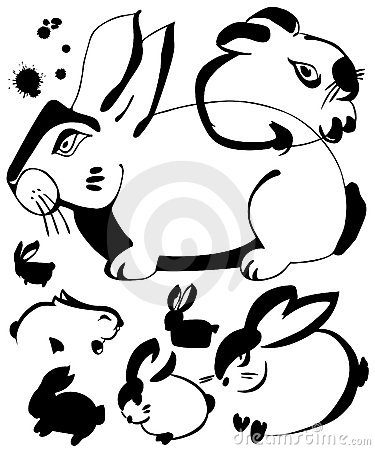 Rabbit ink art