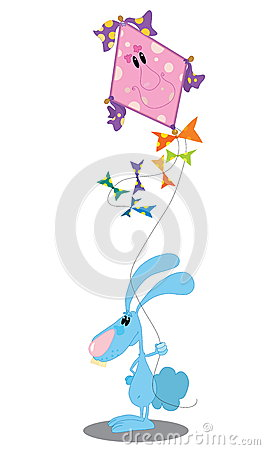 Rabbit with a kite