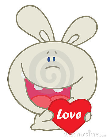 Rabbit laughing and holding a red heart