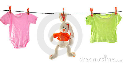A rabbit and linen isolated