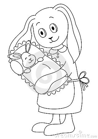 Rabbit mother with the child, contours