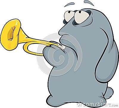 Rabbit the musician. Cartoon