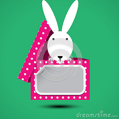 Rabbit sits in box for gift with sticker for your text Vector Illustration