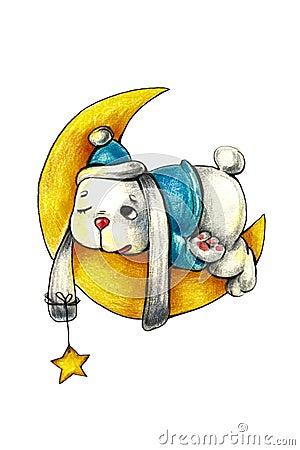 Free Rabbit Sleep On Moon Cute Children Print. Stock Photos - 131907863