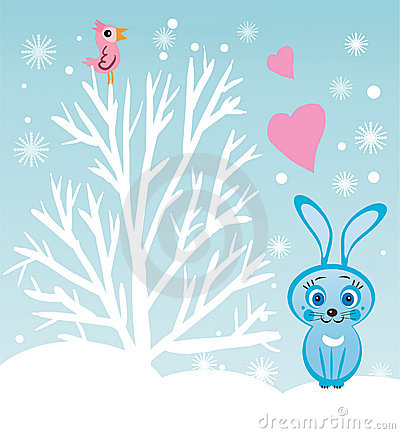 Rabbit under the tree