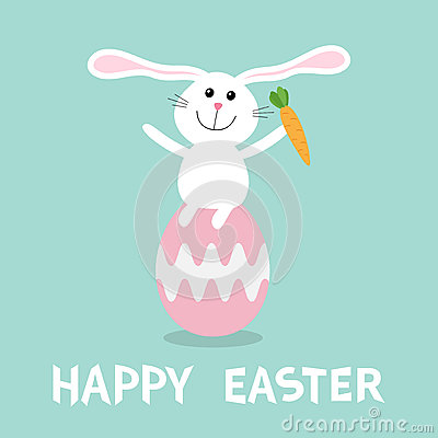 Free Rabbit With Carrot Sitting On Painting Pink Egg Shell. Happy Easter Bunny Pyramid Set. Farm Animal. Cute Cartoon Funny Character. Royalty Free Stock Photo - 87966735