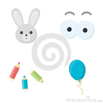 Free Rabbit With Long Ears, Colored Pencils For Drawing, Blue Air Balloon, Eye Toys With Eyebrows. Toys Set Collection Icons Stock Photo - 100332880