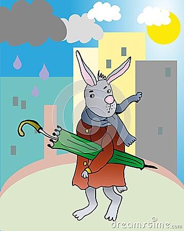 Rabbit witn umbrella