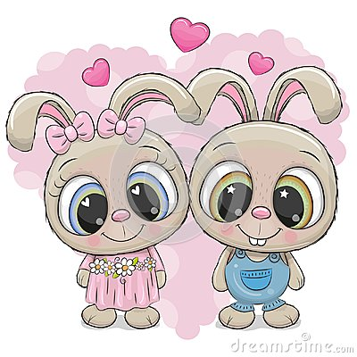 Free Rabbits Boy And Girl On A Heart Background Stock Photography - 123892352