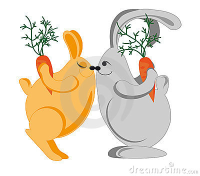 Rabbits congratulate each other on the holiday