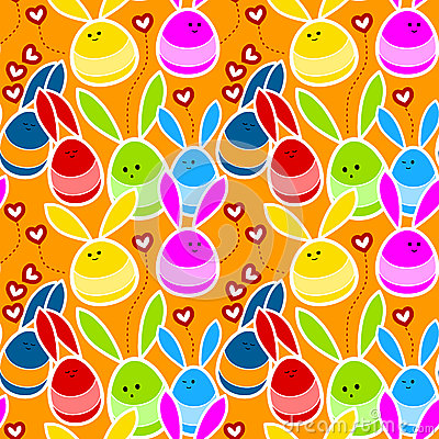 Rabbits in love seamless background