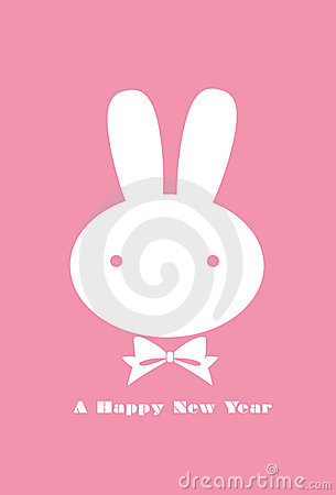 Rabbits new year greeting card