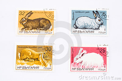 Rabbits on postage stamps