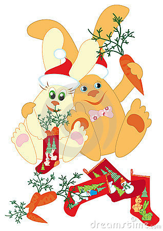 Rabbits prepare gifts for New Year