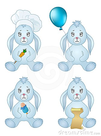 Rabbits sitting with gift, set