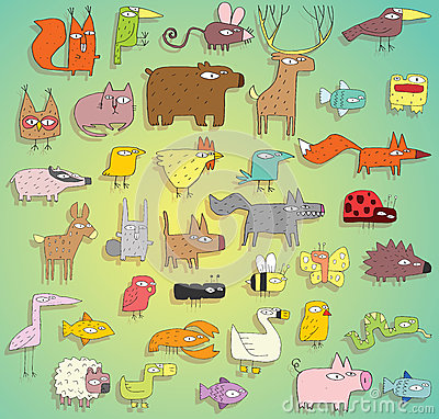 Raccolta divertente degli animali a colori, con i profili e le ombre