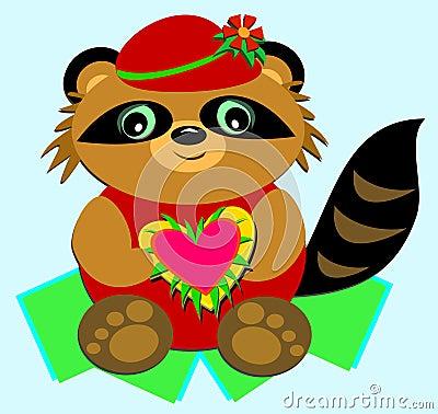 Raccoon with a Big Heart