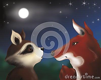 Raccoon and fox by night