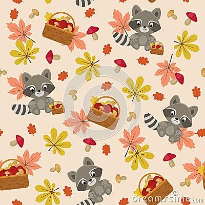 Free Raccoon Seamless Pattern Royalty Free Stock Photo - 58758025