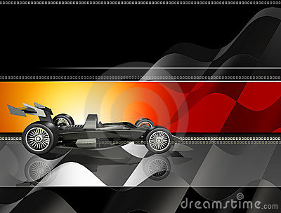 Race Car and Checkered Flag Background