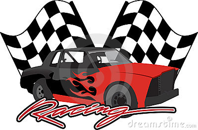 Race Car With Checkered Flags Stock Photo Image 13703730