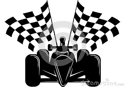 Race Car with Checkered Flags