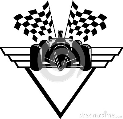 Race Car with Checkered Flags & Shield