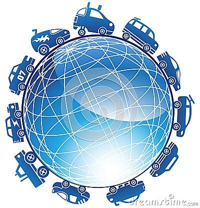 Race Car Globe Icon