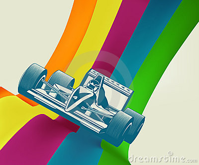 Race car on rainbow stripes