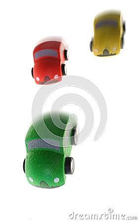Race car wood toy winning
