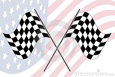 Race flag with us flag
