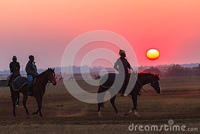 Race Horses Grooms Jockeys Training Dawn Editorial Image