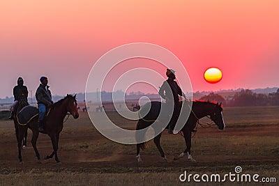 Race Horses Grooms Jockeys Training Dawn Editorial Image