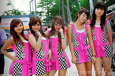 Race queens posing at Formula Drift 2010 Editorial Photography