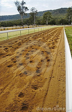 Race track with horse s footprint