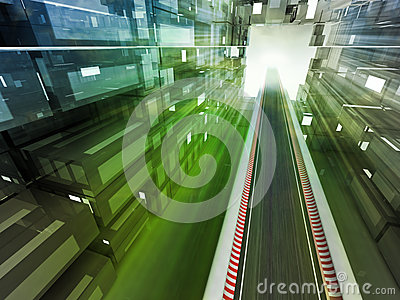 Racetrack color flare in city urban space