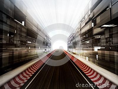 Racetrack in glass bussiness city background