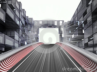 Racetrack hill in modern city space