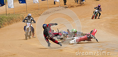Racing bike accident Editorial Image
