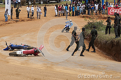 Racing bike accident Editorial Stock Photo